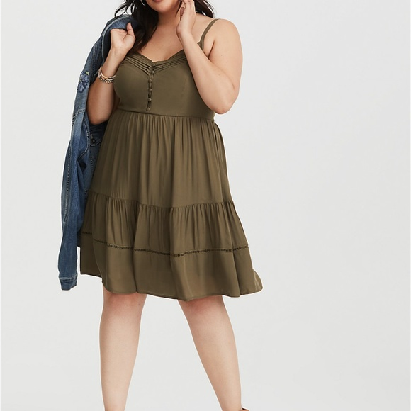 Torrid Olive V-Neck Tiered Challis Mini Dress 2